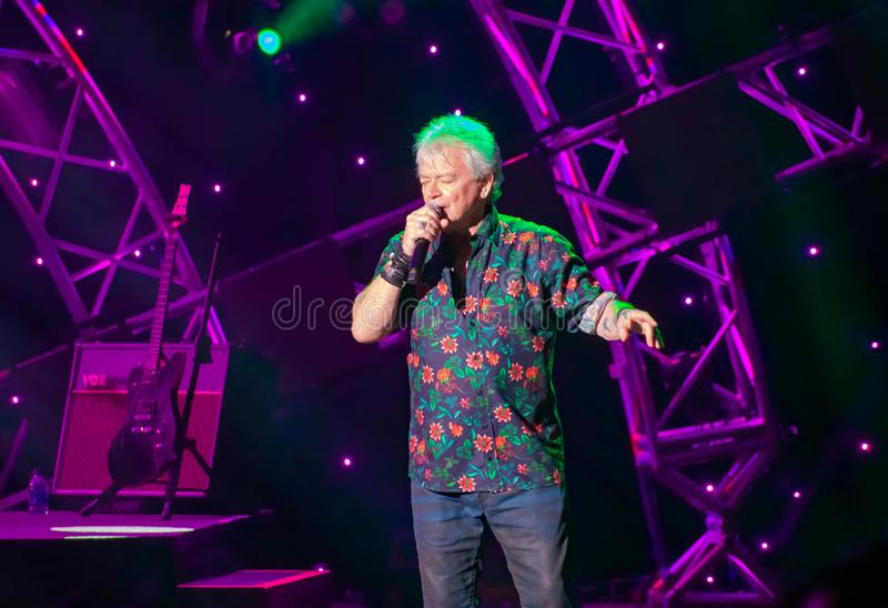 Russell Hitchcock  from air supply, singing beautiful melody at Epcot in Walt Disney World 26. Orlando, Florida. March 26, 2019. Russell Hitchcock  from air stock images
