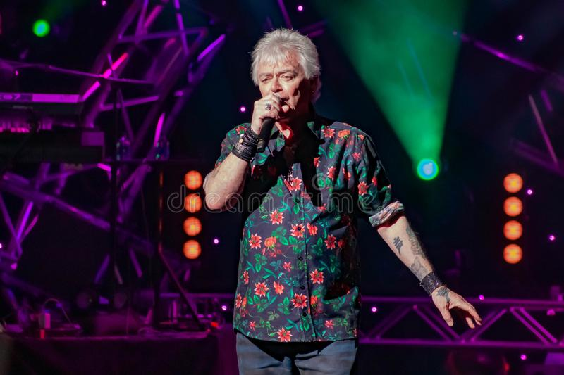 Russell Hitchcock  from air supply, singing beautiful melody at Epcot in Walt Disney World 29. Orlando, Florida. March 26, 2019. Russell Hitchcock  from air stock photo