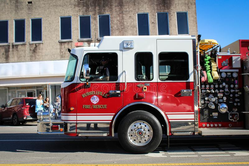 Russellville Fire Truck in Veteran`s Day Parade. Russellville, Alabama, United States November 10, 2019  Russellville Fire and Rescue in Veteran`s Day Parade royalty free stock photo