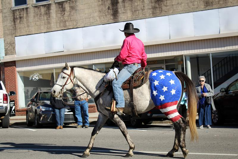 Russellville, Patriotic horse with flag painted on back end, Veteran`s Day Parade. Russellville, Alabama, United States November 10, 2019 Russellville Patriotic stock photography