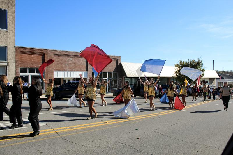 Russellville High School Flag Team. Russellville, Alabama, United States November 10, 2019  Russellville High School Flag Team at Veteran`s Day Parade, Main royalty free stock photo