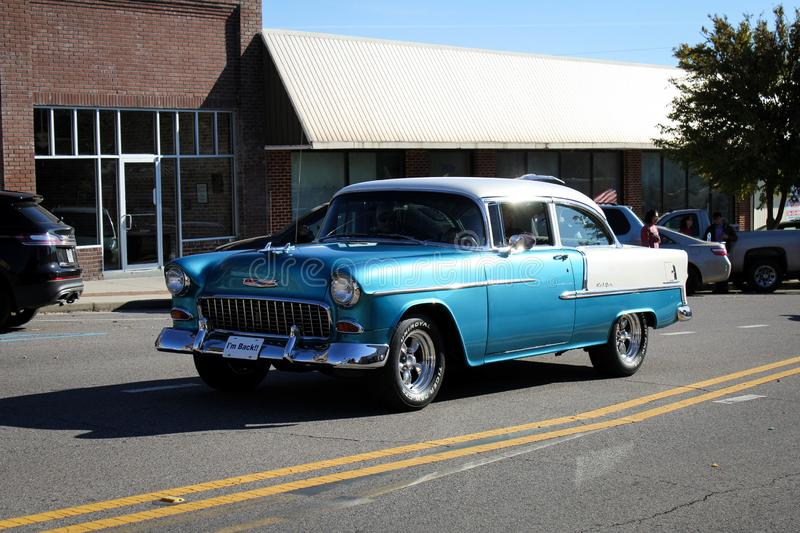 Russellville 1950s blue and white car, Veteran`s Day Parade. Russellville, Alabama, United States November 10, 2019 Russellville 1950s blue and white car stock image