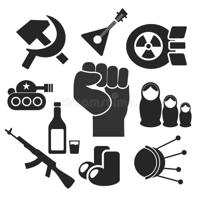 Russenweb en mobiele pictogrammen Vector royalty-vrije illustratie