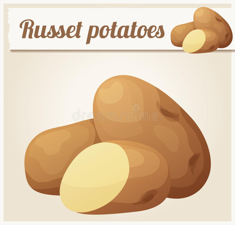 Russet potatoes. Detailed Vector Icon royalty free illustration