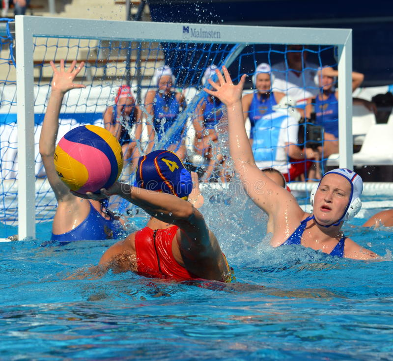 Russia against Spain. 10-9. Budapest, Hungary - Jul 16, 2014. Russia against Spain. 10-9. The Waterpolo European Championship was held in Alfred Hajos Swimming royalty free stock image