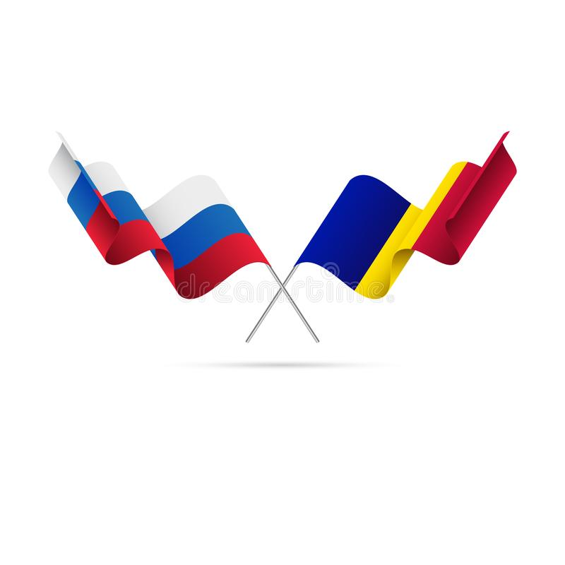 Russia and Andorra flags. Vector illustration. Russia and Andorra flags. Waving flag vector illustration