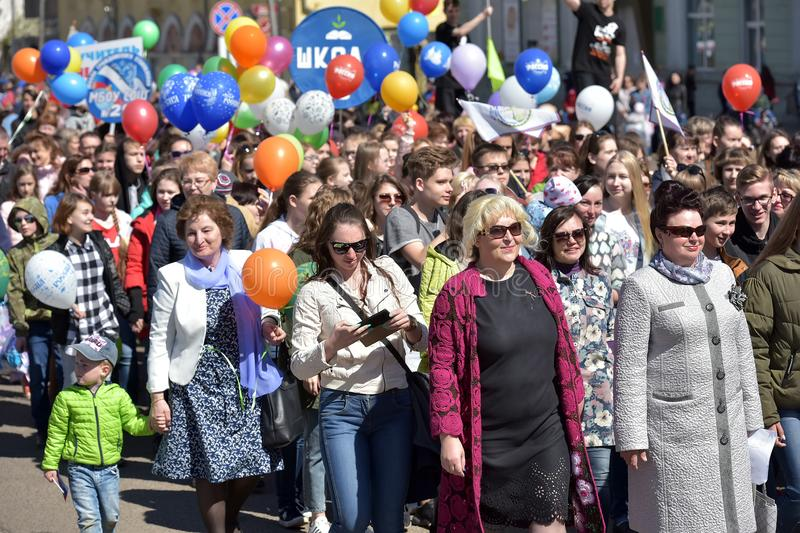May Day demonstration in honor of the celebration of the Holiday. Russia, Angarsk 01,05,2018 May Day demonstration in honor of the celebration of the Holiday of royalty free stock photo