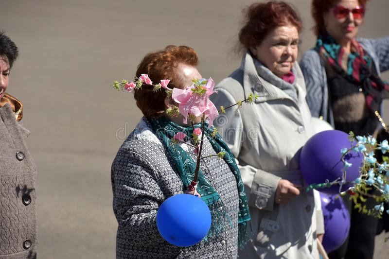 May Day demonstration in honor of the celebration of the Holiday. Russia, Angarsk 01,05,2018 May Day demonstration in honor of the celebration of the Holiday of stock photos