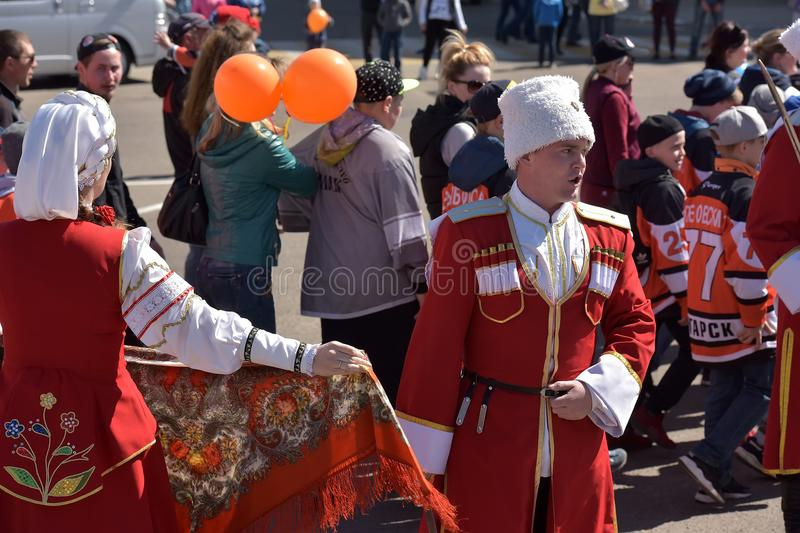 May Day demonstration in honor of the celebration of the Holiday. Russia, Angarsk 01,05,2018 May Day demonstration in honor of the celebration of the Holiday of stock photo