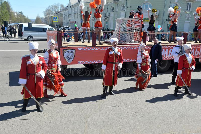 May Day demonstration in honor of the celebration of the Holiday. Russia, Angarsk 01,05,2018 May Day demonstration in honor of the celebration of the Holiday of royalty free stock photography