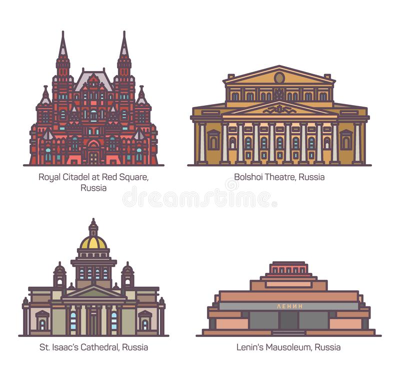 Color Russia architecture landmarks in thin line stock illustration
