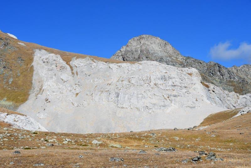 Russia, Arkhyz. White mountain near the Agur lakes royalty free stock image