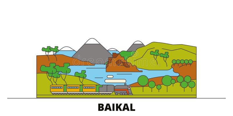 Russia, Baikal flat landmarks vector illustration. Russia, Baikal line city with famous travel sights, skyline, design. Russia, Baikal flat landmarks vector stock illustration