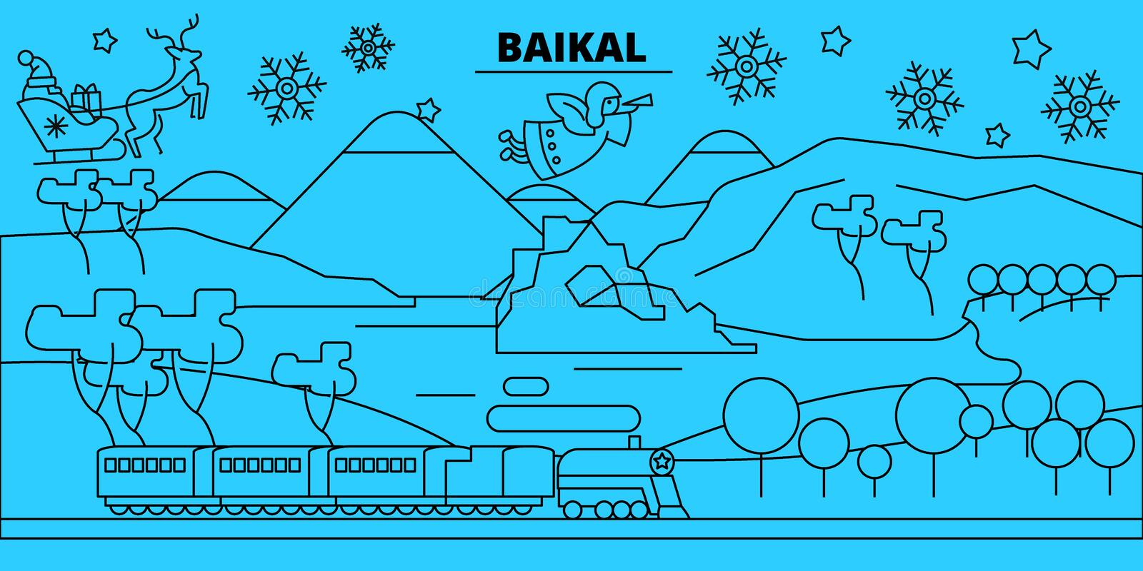Russia, Baikal winter holidays skyline. Merry Christmas, Happy New Year decorated banner with Santa Claus.Russia, Baikal. Russia, Baikal winter holidays skyline royalty free illustration