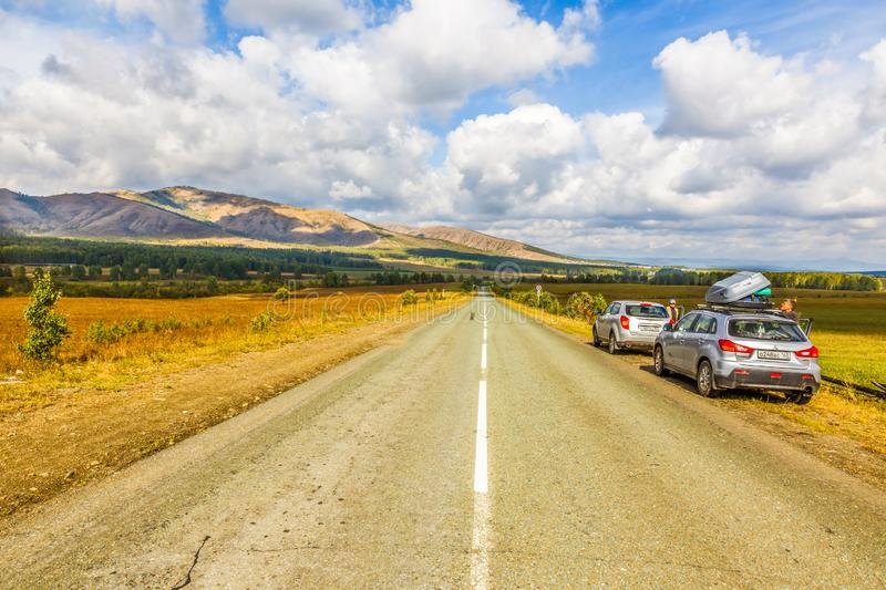 A picturesque road in the Ural Mountains. Russia, Bashkortostan, September 2016: A picturesque road in the Ural Mountains. Bashkortostan stock photos