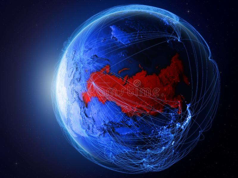 Russia on blue Earth with network. Russia from space on planet Earth with blue digital network representing international communication, technology and travel vector illustration