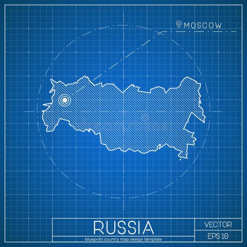Russia blueprint map template with capital city stock vector download russia blueprint map template with capital city stock vector illustration of building malvernweather Gallery
