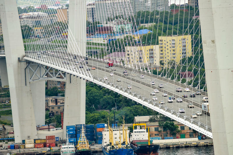 Russia, the bridge across the Golden horn bay in Vladivostok stock photography