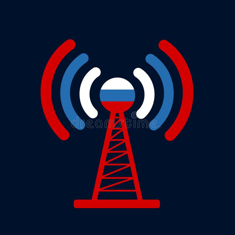 Russia and broadcasting. Broadcasting and distribution of informations and signal from national broadcaster of Russia - Russian national and state mass media royalty free illustration