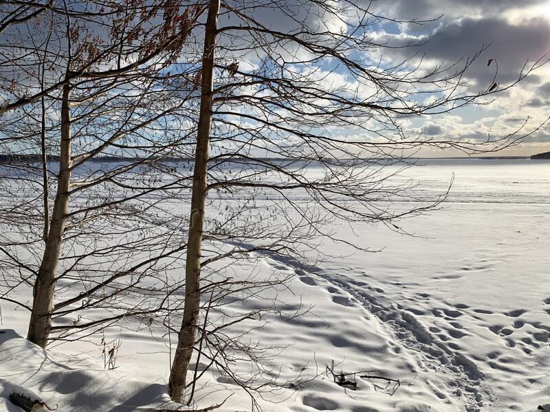 Russia, Chelyabinsk region. Nature monument - lake Uvildy in January in frosty weather stock photography
