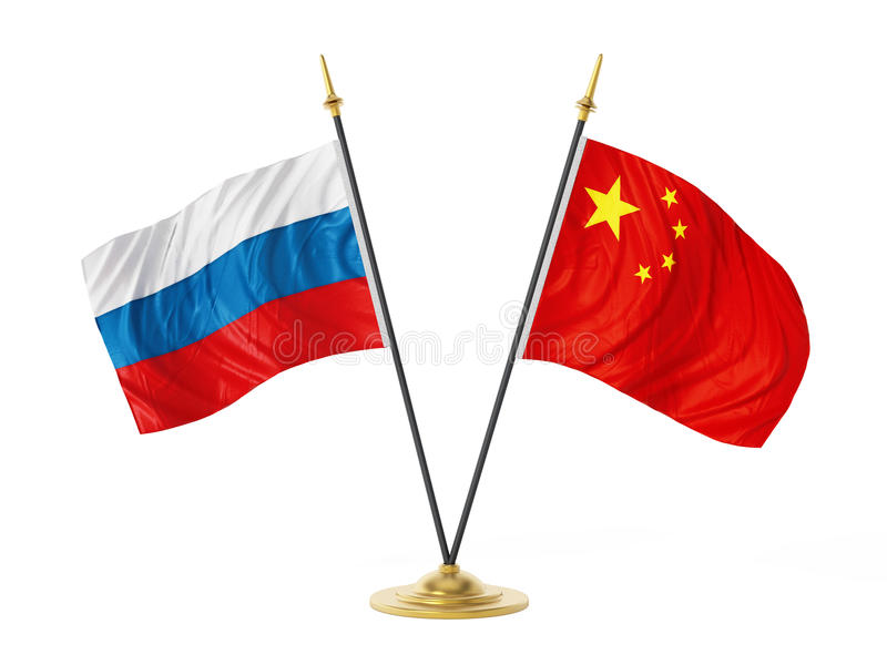 Russia and China desktop flags. 3D illustration.  vector illustration