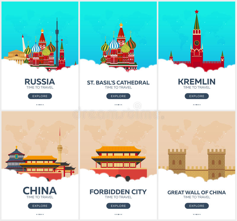 Russia, China. Time to travel. Set of Travel posters. Vector flat illustration. vector illustration