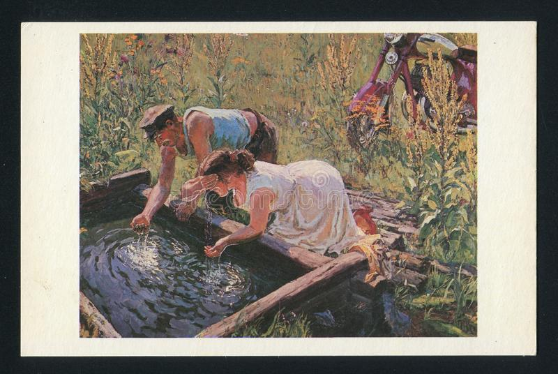Arkady Plastov Noon. RUSSIA - CIRCA 1979: post card printed by Russia, shows Painting Noon. Artist Arkady Plastov, circa 1979 royalty free stock images