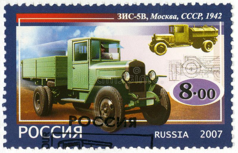 RUSSIA - 2007: shows Soviet truck ZIS-5V, 1942, series the history of Russian motor-cars, the first native trucks, 2007 stock image