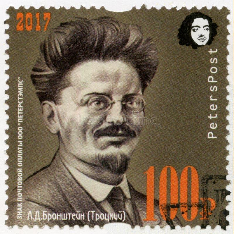 RUSSIA - 2017: shows Leon Trotsky Lev Davidovich Bronstein 1879-1940, 100 anniversary of Great Russian revolution, 1917-2017 stock photo