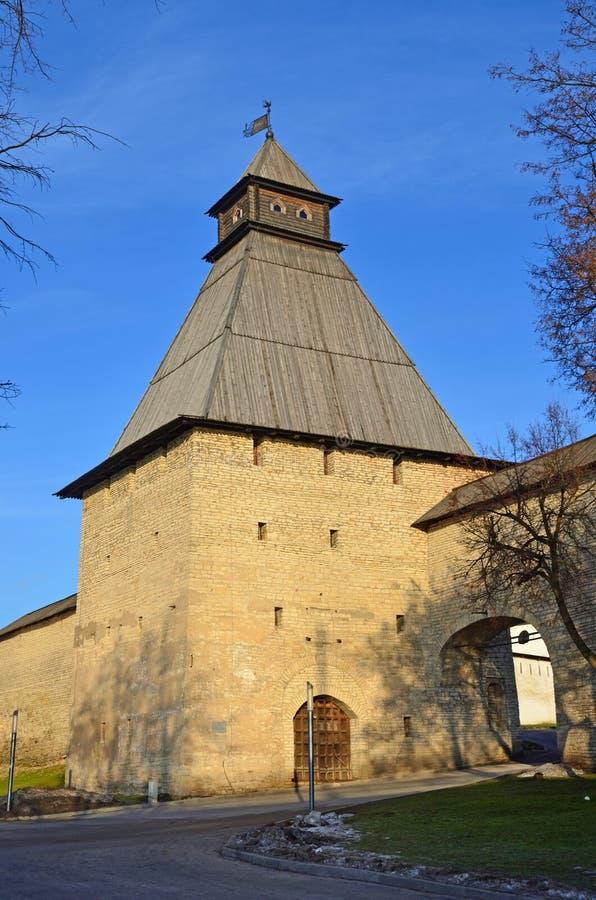 Russia, the city of Pskov. Vlasevskaya tower of the Pskov Kremlin royalty free stock image