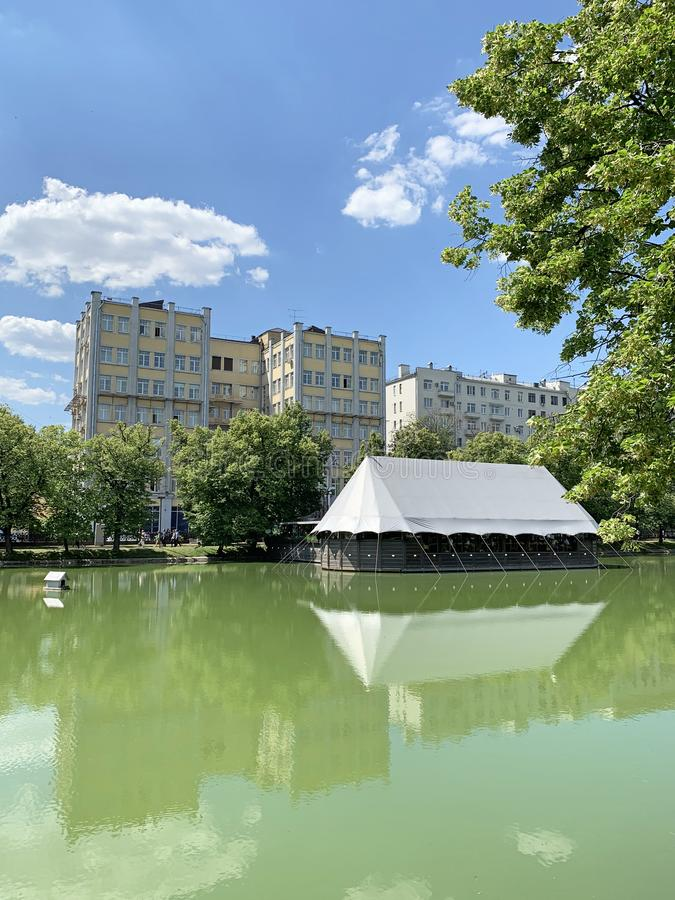 Russia. Clean ponds Chistye Prudy in sunny June day in Moscow royalty free stock photos