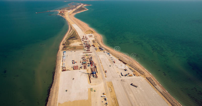 Russia , the construction of the Crimean bridge royalty free stock photo
