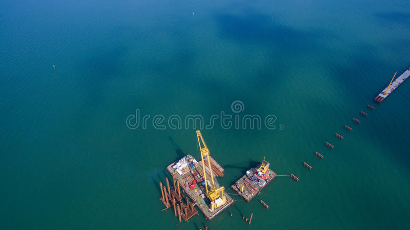 Russia , the construction of the Crimean bridge royalty free stock photography
