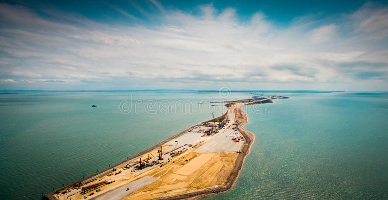 Russia , the construction of the Crimean bridge stock image