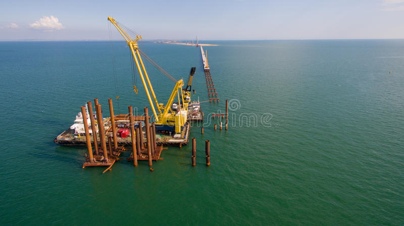 Russia , the construction of the Crimean bridge royalty free stock photos