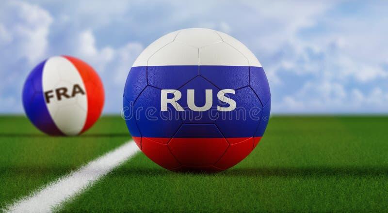Russia contro France Soccer Match - palline da calcio in Russia e in Francia colori nazionali in campo calcistico illustrazione di stock