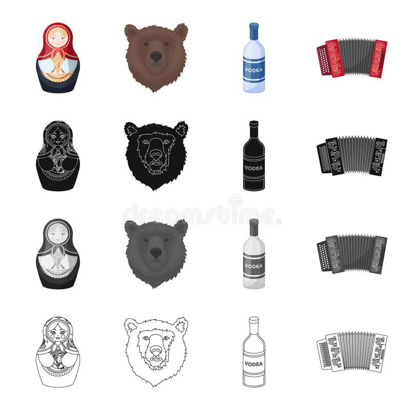 Russia, country,music and other web icon in cartoon style. Accordion, instrument, musical, icons in set collection. Russia, country,music and other icon in vector illustration