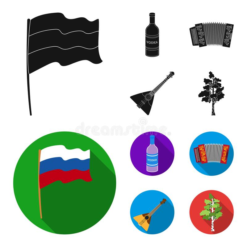 Russia, country, vodka,accordion .Russia country set collection icons in black, flat style vector symbol stock. Illustration vector illustration