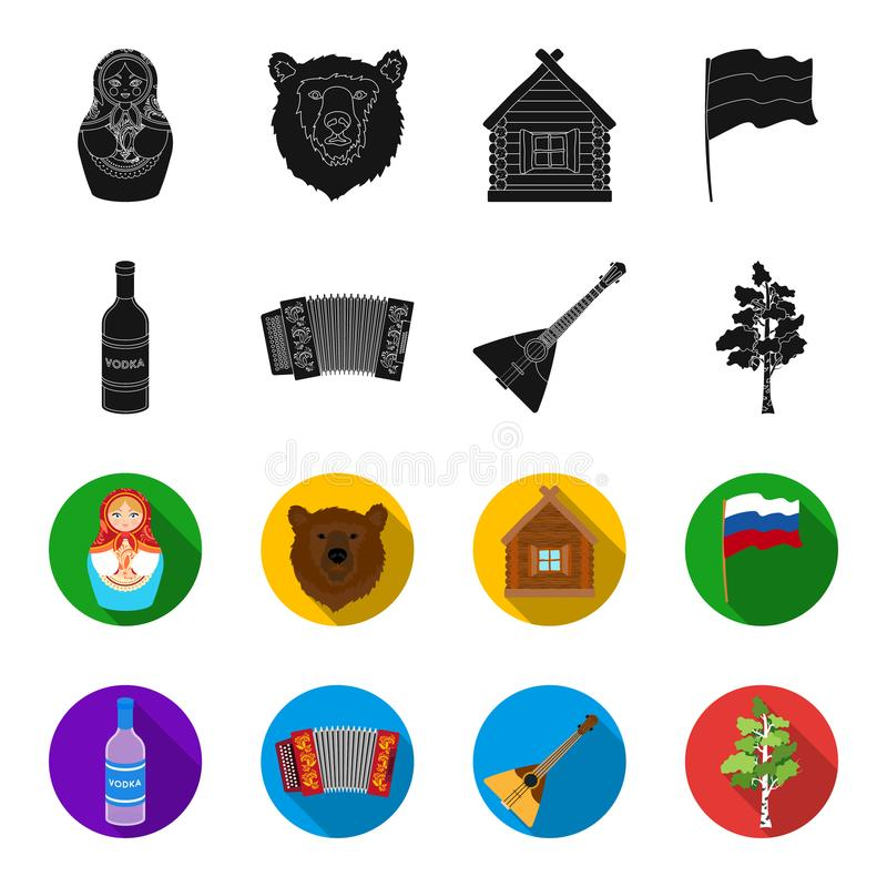 Russia, country, vodka,accordion .Russia country set collection icons in black,flet style vector symbol stock. Illustration royalty free illustration