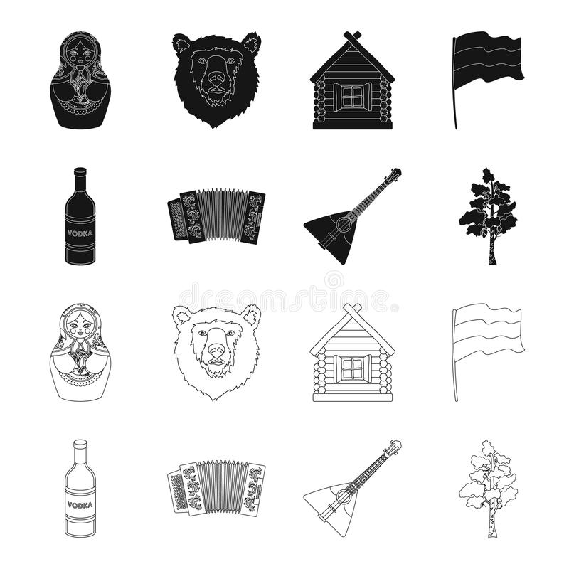 Russia, country, vodka,accordion .Russia country set collection icons in black,outline style vector symbol stock. Illustration royalty free illustration