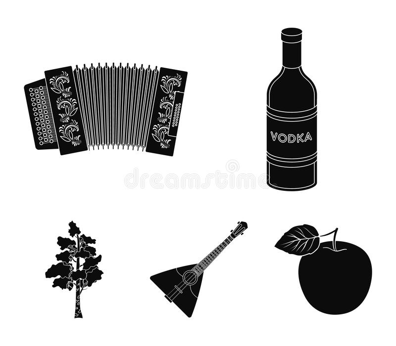 Russia, country, vodka,accordion .Russia country set collection icons in black style vector symbol stock illustration.  vector illustration
