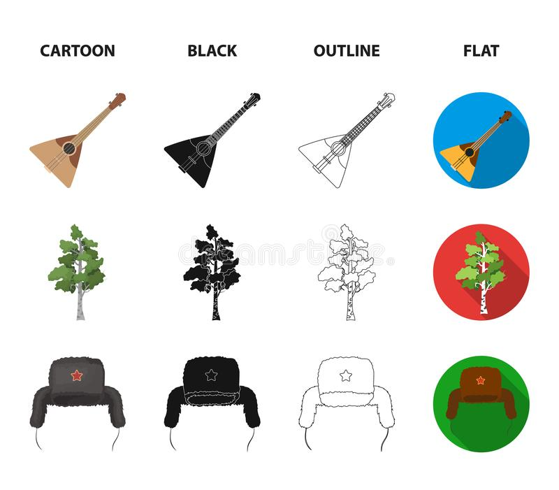 Russia, country, vodka,accordion .Russia country set collection icons in cartoon,black,outline,flat style vector symbol. Stock illustration vector illustration