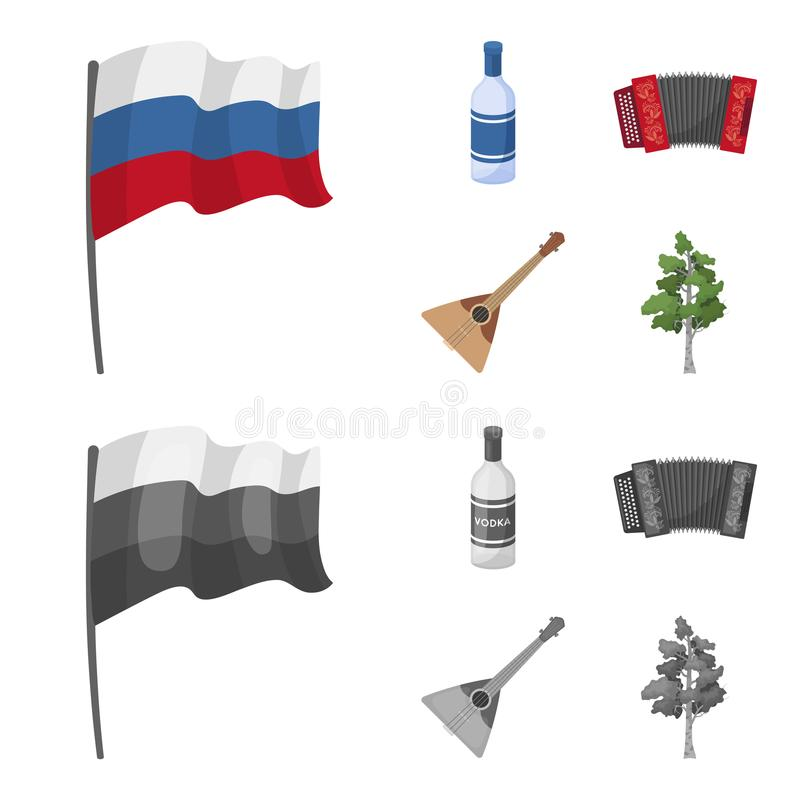 Russia, country, vodka,accordion .Russia country set collection icons in cartoon,monochrome style vector symbol stock. Illustration royalty free illustration