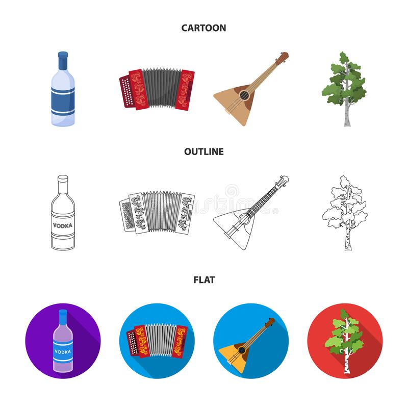 Russia, country, vodka,accordion .Russia country set collection icons in cartoon,outline,flat style vector symbol stock. Illustration stock illustration
