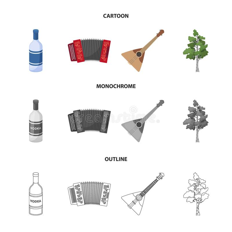 Russia, country, vodka,accordion .Russia country set collection icons in cartoon,outline,monochrome style vector symbol. Stock illustration stock illustration