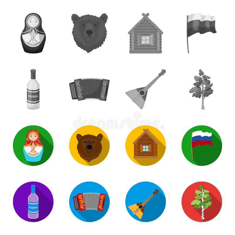 Russia, country, vodka,accordion .Russia country set collection icons in monochrome,flat style vector symbol stock. Illustration vector illustration