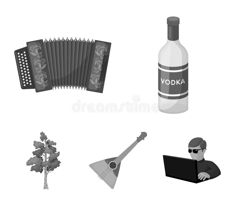 Russia, country, vodka,accordion .Russia country set collection icons in monochrome style vector symbol stock. Illustration stock illustration