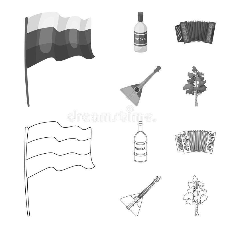 Russia, country, vodka,accordion .Russia country set collection icons in outline,monochrome style vector symbol stock. Illustration vector illustration