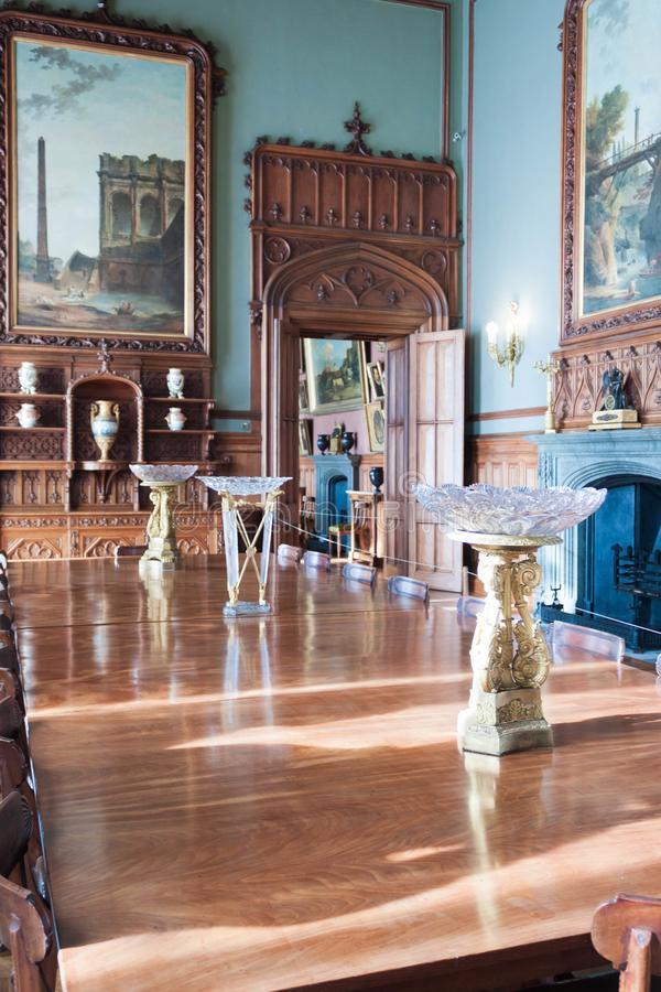 Russia, Crimea, Alupka 03 November 2018: Luxury Vintage interior with ancient wooden decoration Inside Vorontsov Palace. One of the best-known sights royalty free stock photos
