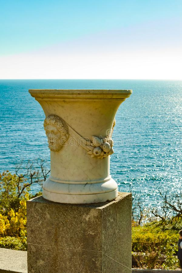 Russia, Crimea, Alupka 03 November 2018: stone vase on the terraces South side of Vorontsov Palace. Russia, Crimea, Alupka 03 November 2018: stone vase on the royalty free stock images